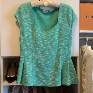 Mint Green Anthropologie Peplum Blouse